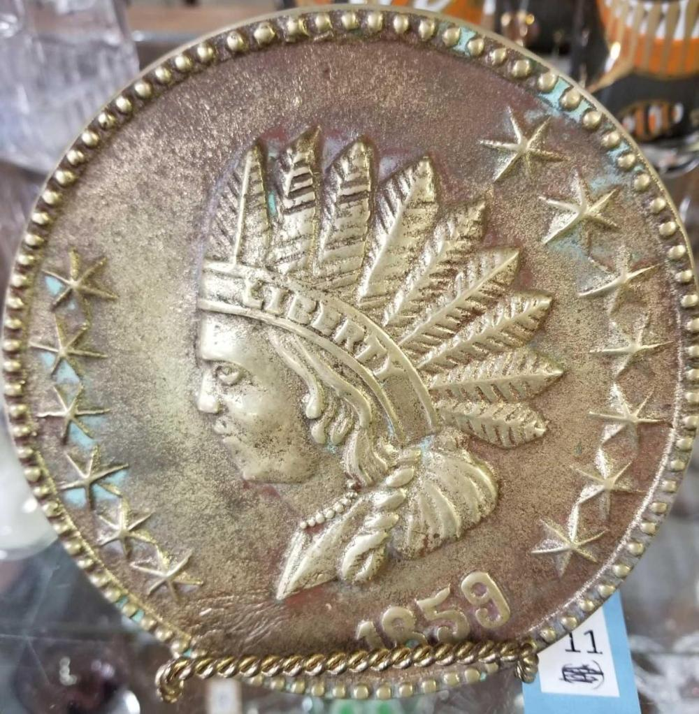1859 BRASS INDIAN HEAD PENNY WALL HANGING