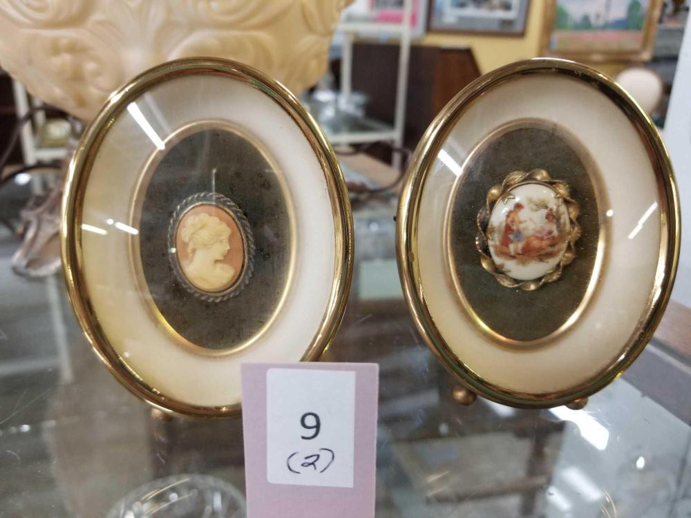 FRAMED CAMEO PIN  & FRAMED HAND PAINTED BROACH - 2 ITEMS