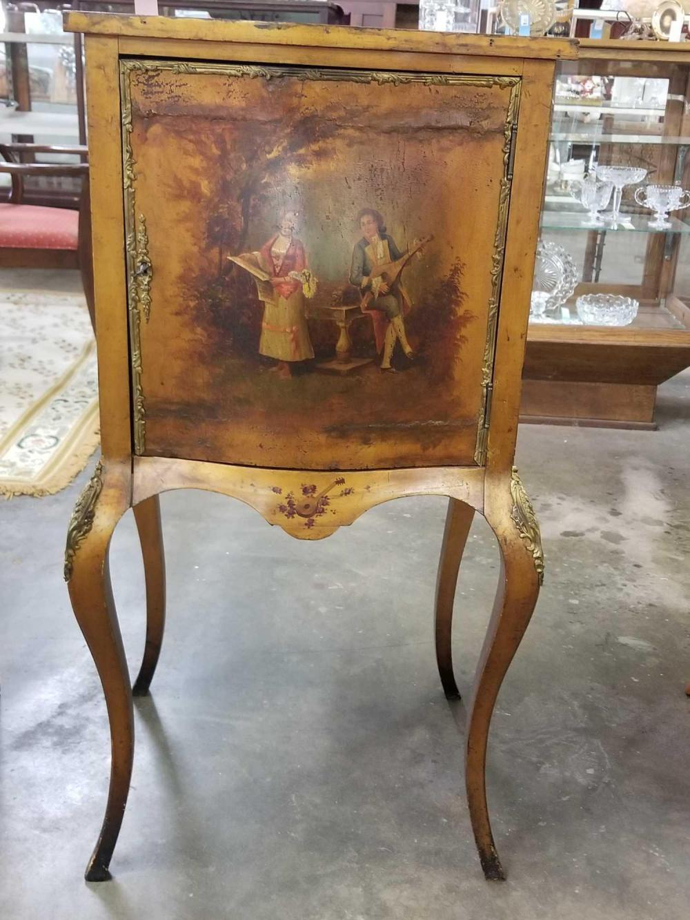 ANTIQUE FRENCH HAND PAINTED SHEET MUSIC CABINET