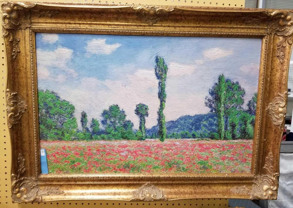 """POPPY FIELD IN GIVERNY"" MUSEUM REPRODUCTION OIL PAINTING"