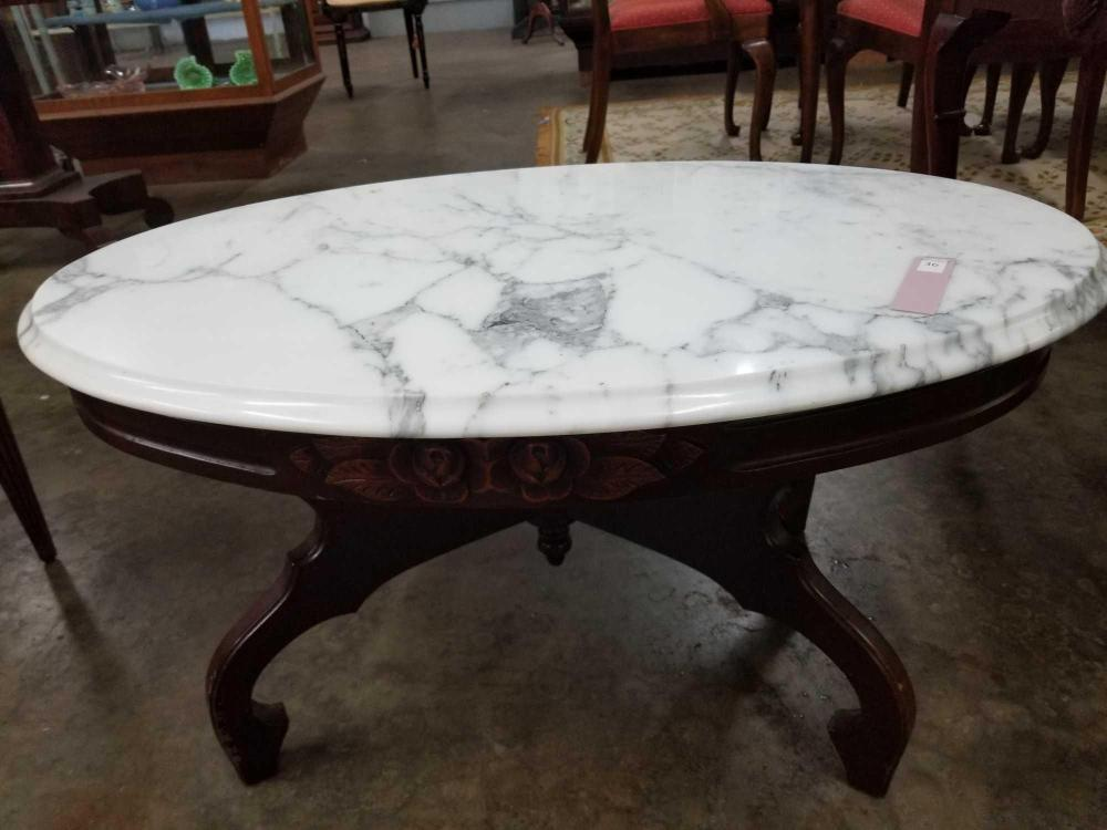 VICTORIAN MARBLE OVAL TOP COFFEE TABLE REPRODUCTION