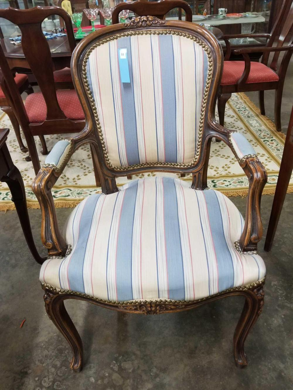 FRENCH STYLE VINTAGE UPHOLSTERED ARM CHAIR