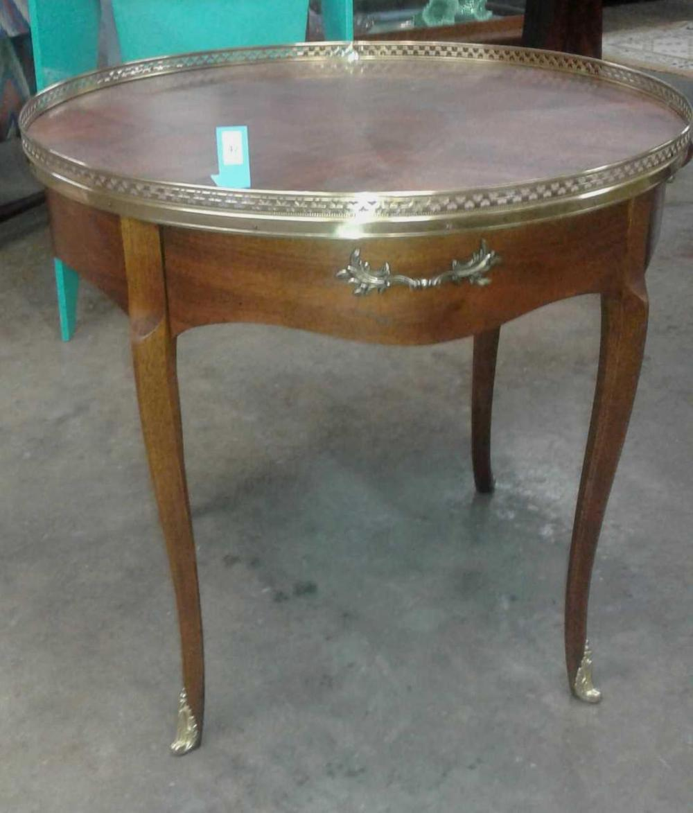 FRENCH STYLE WALNUT LAMP TABLE W/ BRASS GALLEY RAIL TOP