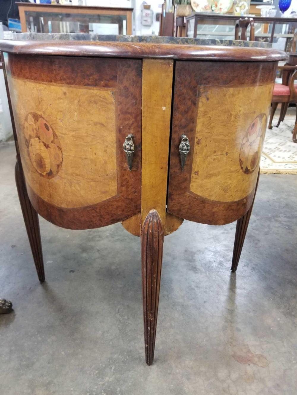 ANTIQUE FRENCWALNUT DEMILUNE TABLE W/ MARBLE TOP
