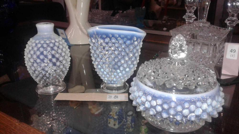 OPALESCENT HOBNAIL GLASSWARE - 3 ITEMS