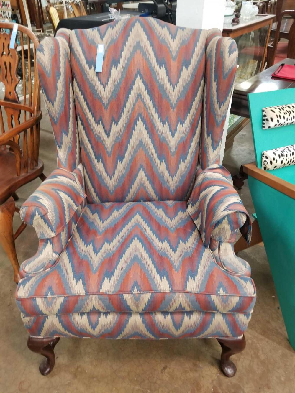 QUEEN ANNE WING BACK UPHOLSTERED ARM CHAIR