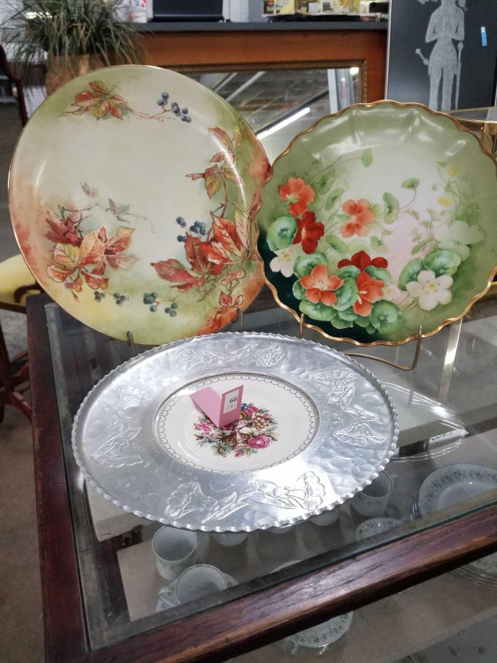 VINTAGE HAND PAINTED PLATES - 3 ITEMS