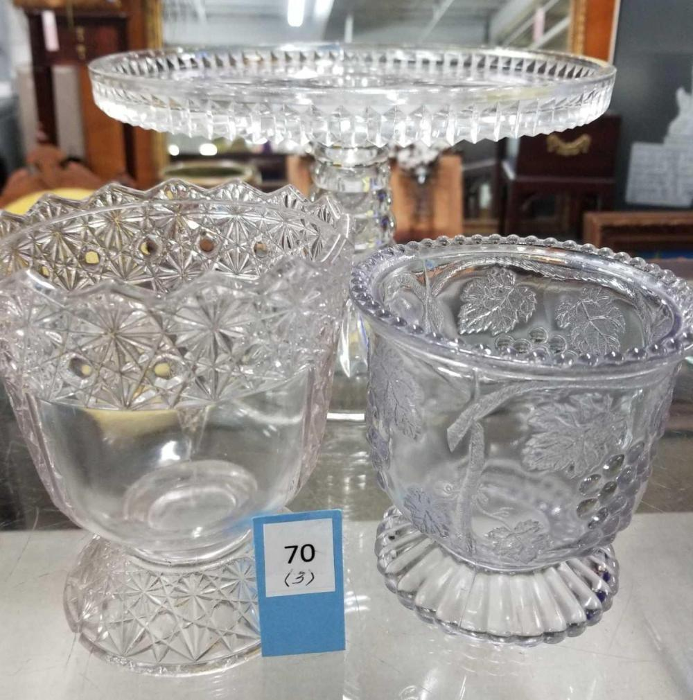 1800'S PRESSED GLASS SPOONERS & CAKE PEDESTAL - 3 ITEMS