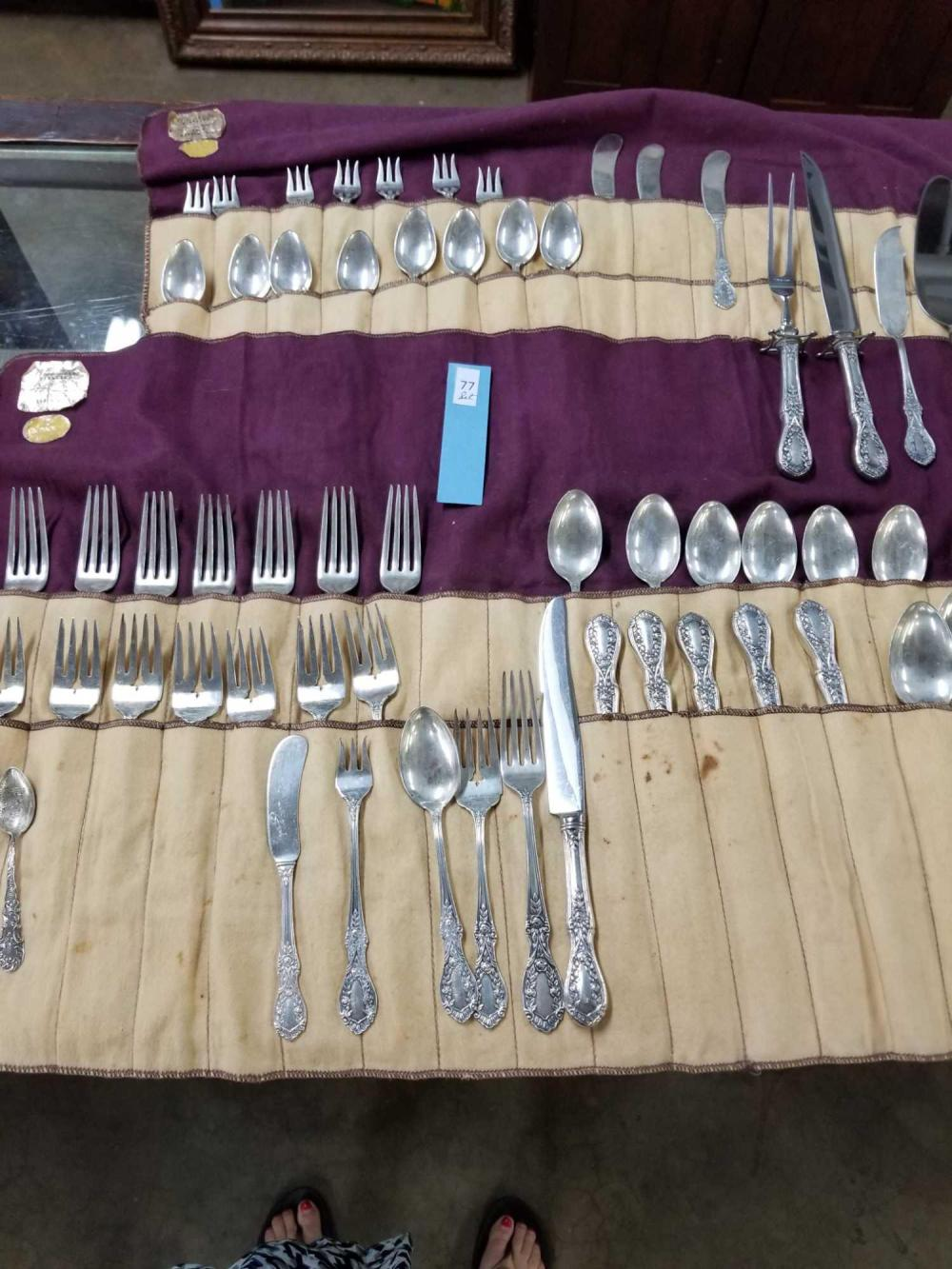 "MANCHESTER STERLING SILVER CO. ""AMERICAN BEAUTY"" STERLING FLATWARE SET"