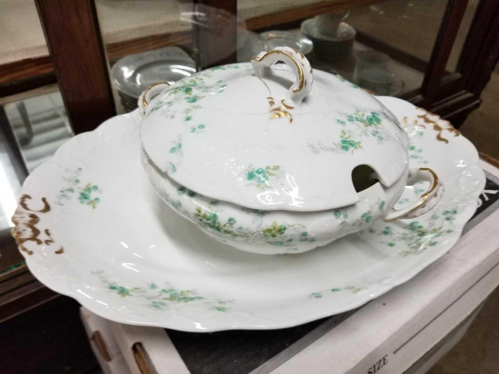 LIMOGES CHINA PLATTER & COVERED VEGETABLE BOWL - 2 ITEMS