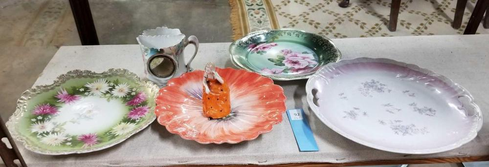 VINTAGE HAND PAINTED PLATES, SHAVING MUG & FIGURAL BELL - 6 ITEMS