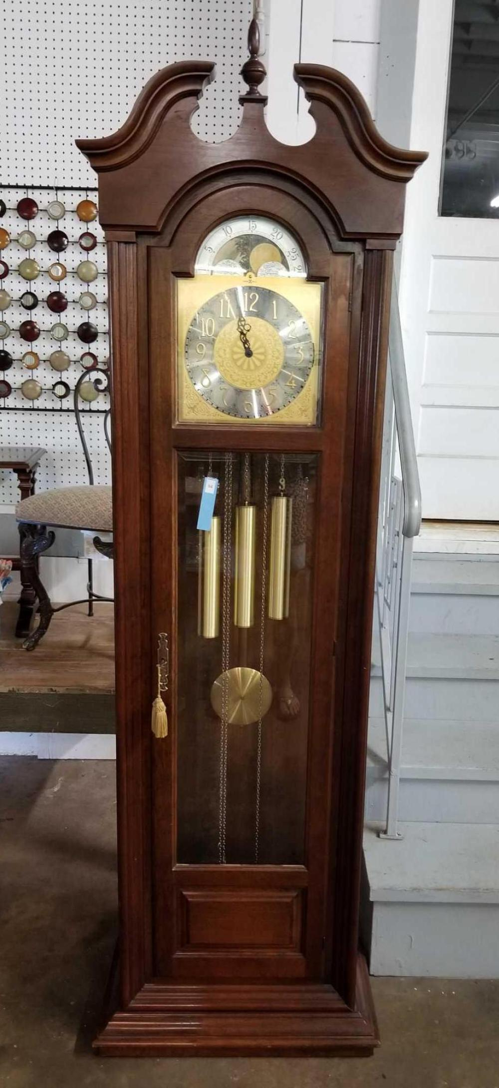 HOWARD MILLER MOON DIAL MODEL 155 TRIPLE CHIME GRANDFATHER CLOCK