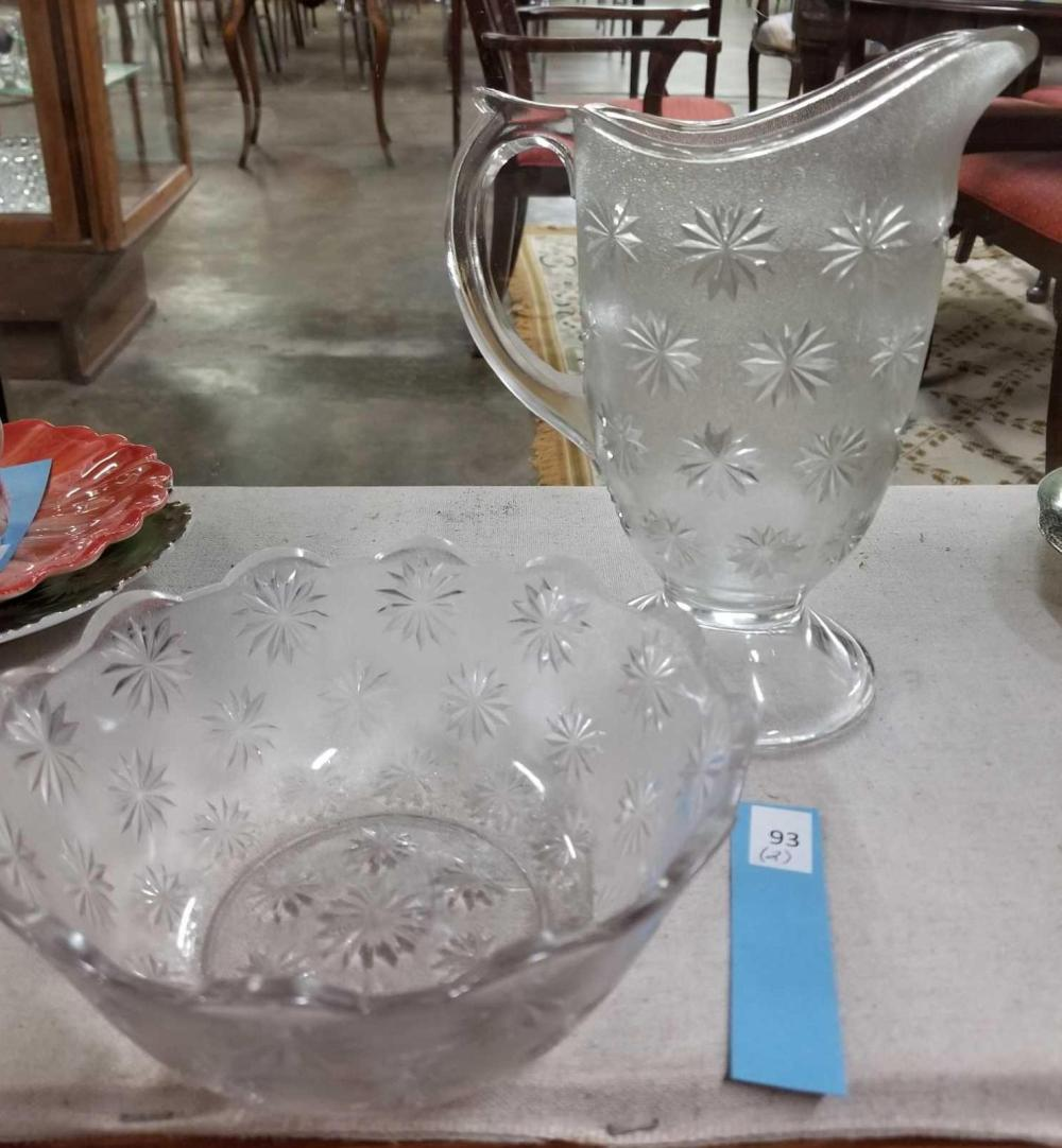 VINTAGE PRESSED GLASS PITCHER & BOWL W/ STAR PATTERN - 2 ITEMS