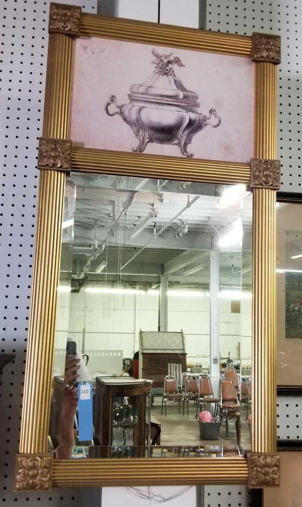DECORATOR BEVELED WALL MIRROR W/ SILVER TUREEN IMAGE AT THE TOP