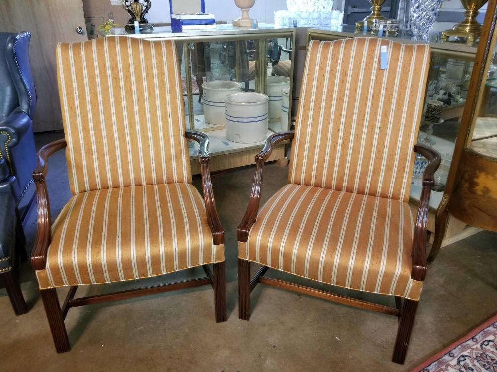 MARTHA WASHINGTON STYLE UPHOLSTERED ARM CHAIRS - PAIR