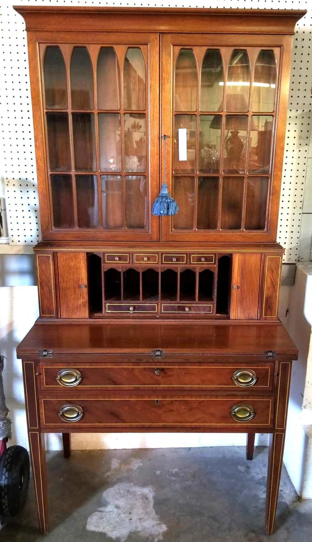 MADDOX FURNITURE CO. SHERATON STYLE LADIES DESK W/ CHINA CABINET TOP