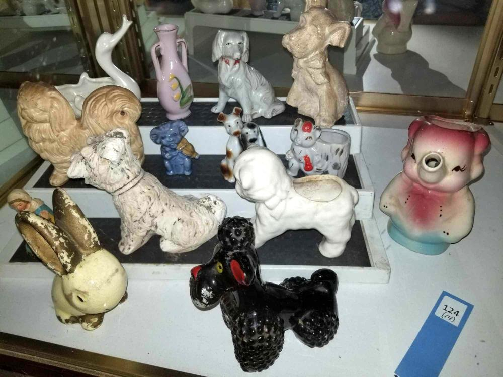ASSORTED ANIMAL SHAPED PORCELAIN PLANTERS, VASES & CHALK FIGURES - 14 ITEMS