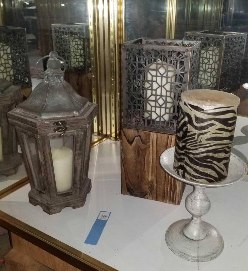 DECORATOR CANDLE HOLDERS & CANDLE LANTERN - 3 ITEMS