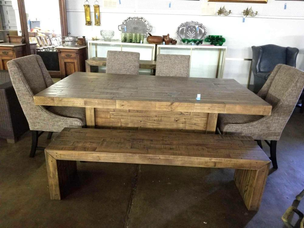 ASHLEY FURNITURE CO. RECLAIMED WOOD STYLE DINING TABLE W/ BENCH & 4 UPHOLSTERED CHAIRS & LOW SERVER