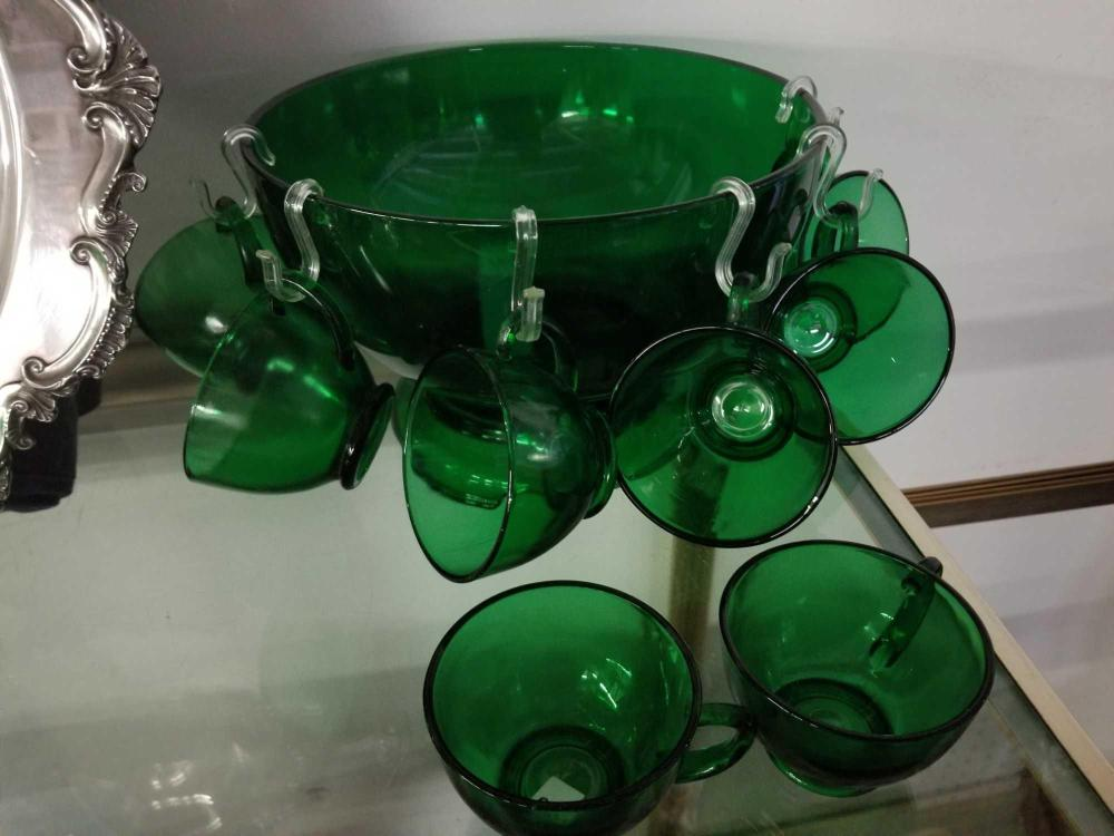 VINTAGE FOREST GREEN PUNCH BOWL, BASE & CUPS