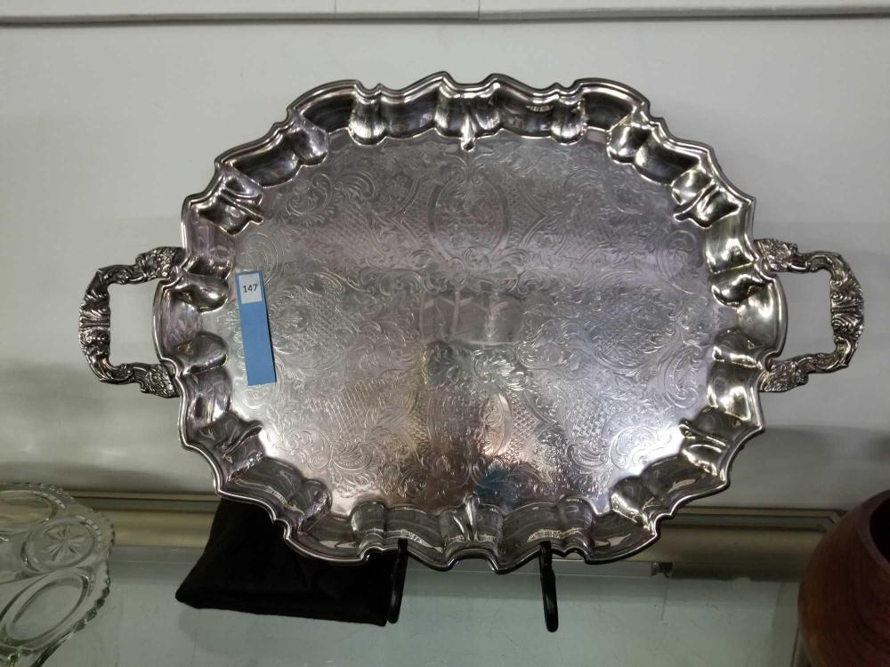 SHEFFIELD ENGLAND SILVER PLATED FOOTED SERVING TRAY