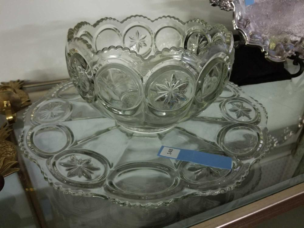 HEISEY VINTAGE PUNCH BOWL & UNDER PLATE