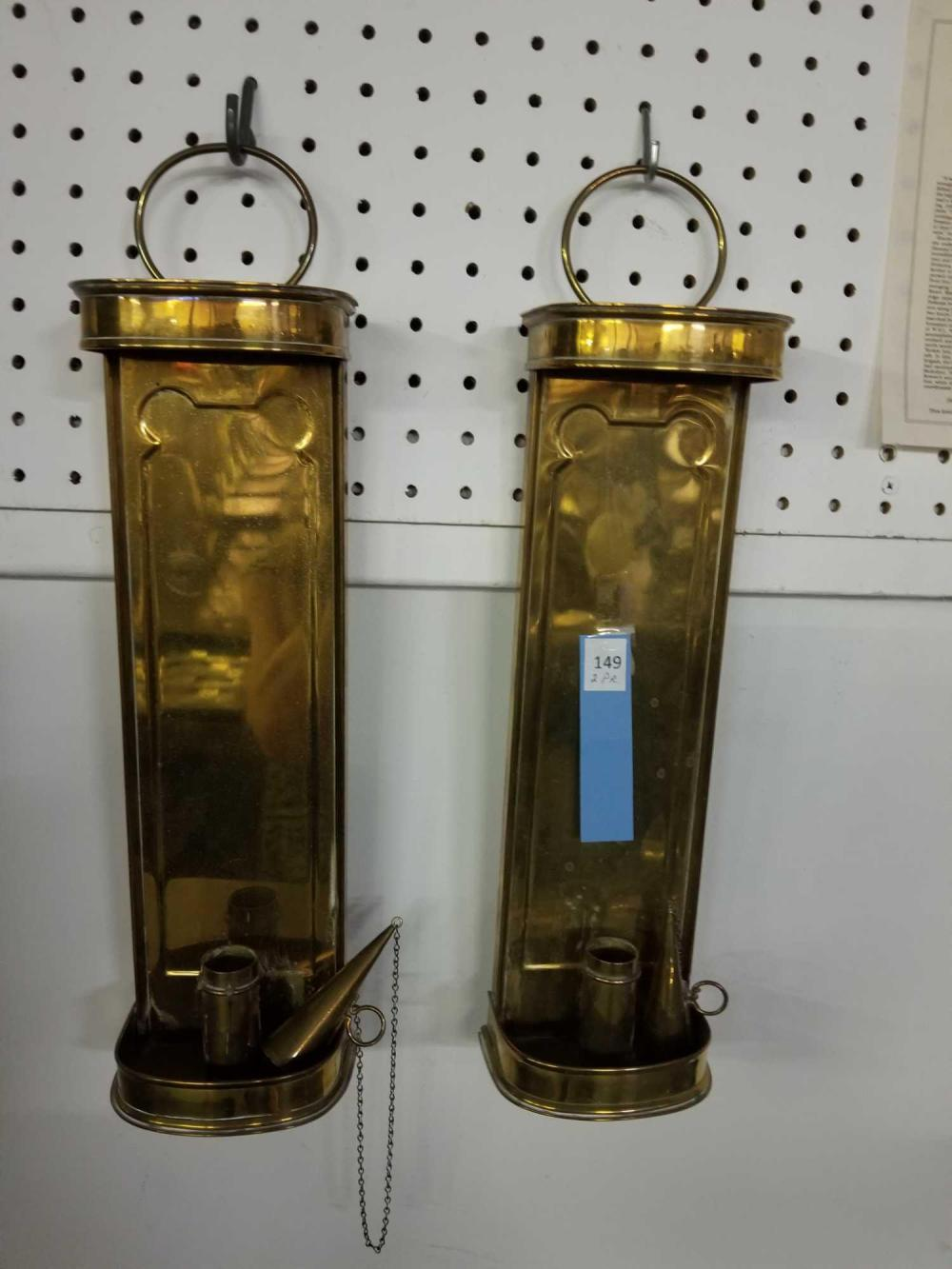 BRASS WALL CANDLE SCONCES - 2 PAIR