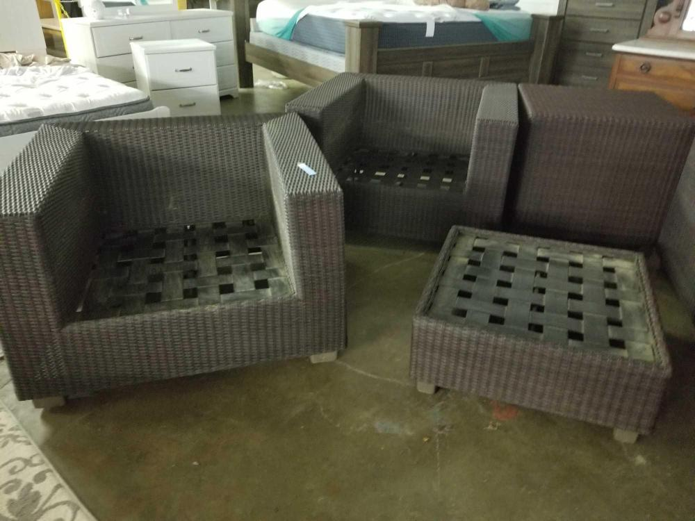 ALL WEATHER WICKER CUBE CHAIRS, TABLE & OTTOMAN - 4 PCS.