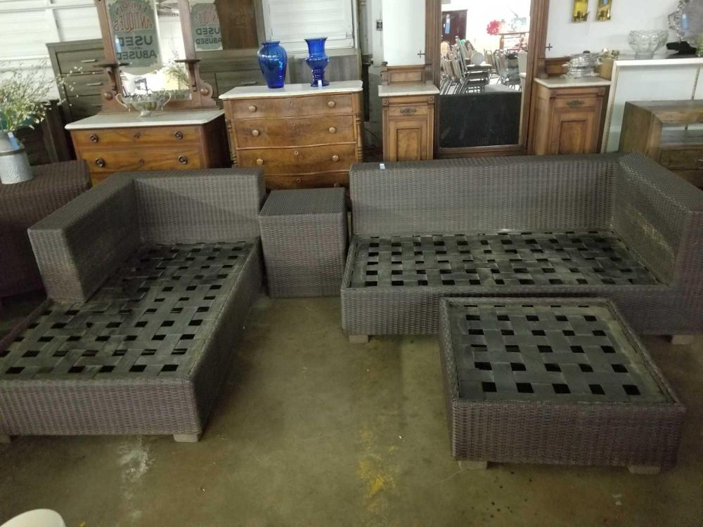 ALL WEATHER WICKER LOUNGE, SOFA, OTTOMAN & CUBE TABLE - 4 ITEMS