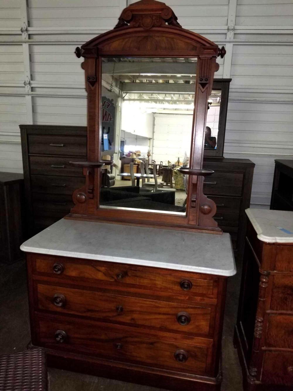 VICTORIAN WALNUT MARBLE TOPPED DRESSER W/ MIRROR & CANDLE STANDS