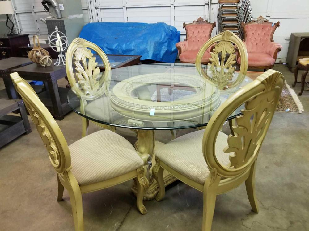 ASHLEY FURNITURE CO. FRENCH STYLE GLASS TOP ROUND DINING TABLE & 4 CHAIRS