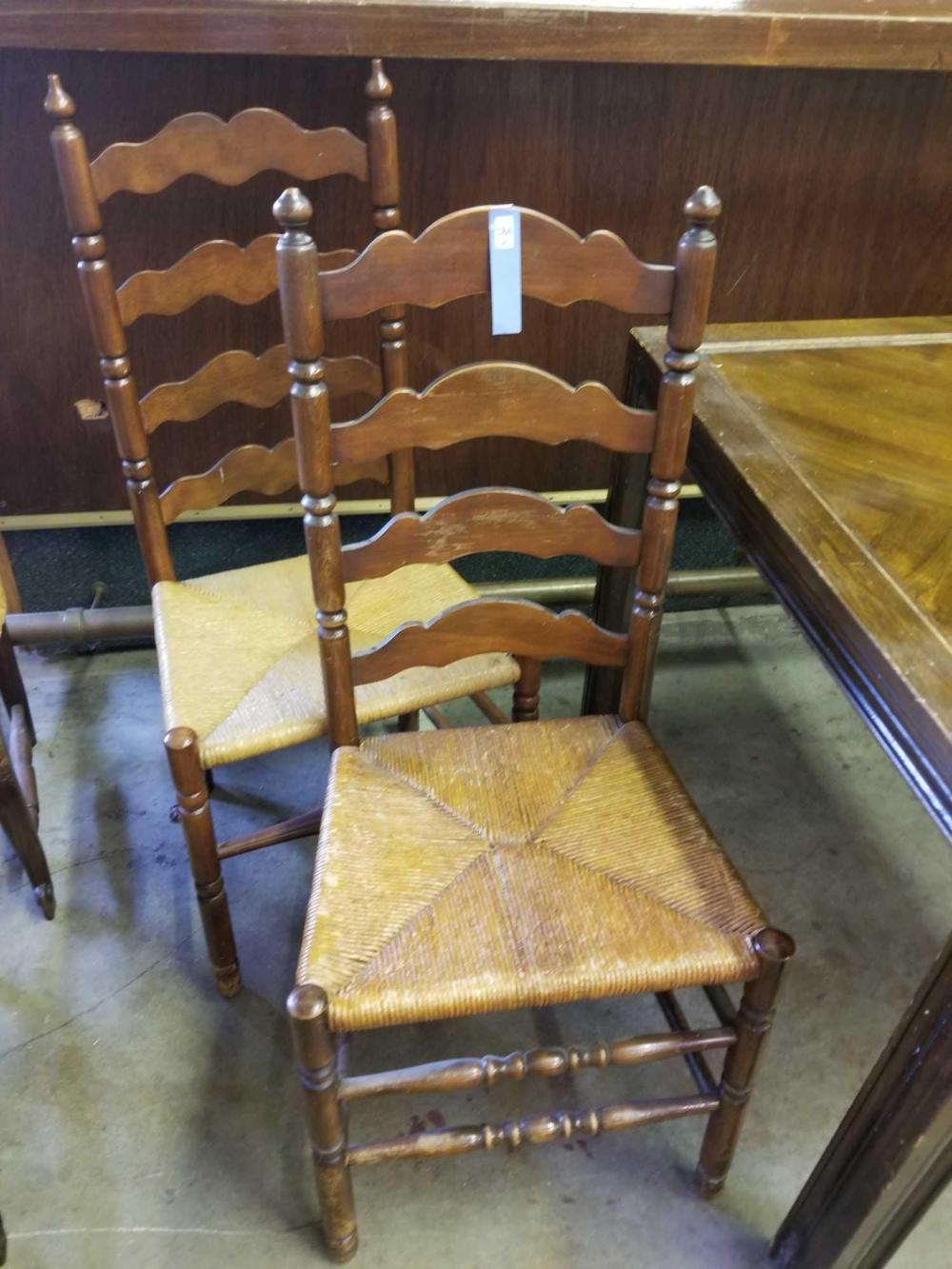 LADDER BACK RUSH BOTTOM VINTAGE CHAIRS - 2 ITEMS