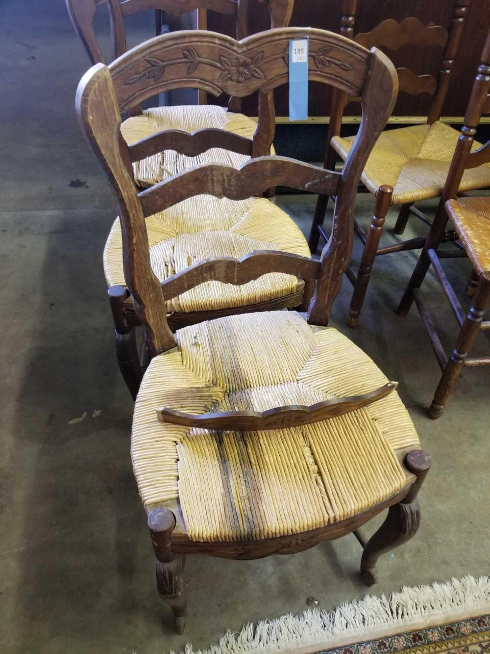 FRENCH STYLE DINING CHAIRS W/ WOVEN SEA GRASS SEATS - 3 ITEMS