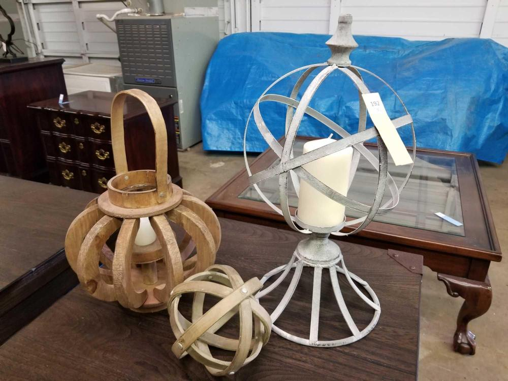 WOODEN DECORATOR CANDLE LANTERN, METAL ORB W/ CANDLE & WOODEN WOVEN ORB - 3 ITEMS