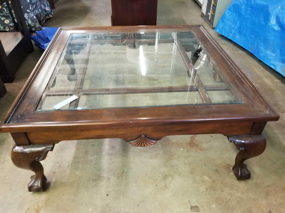 MAHOGANY CHIPPENDALE CLAW FOOTED GLASS TOPPED COFFEE TABLE