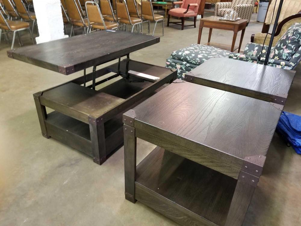 ASHLEY FURNITURE CO. END TABLES & COFFEE TABLE W/ CANTILEVER TOP - 3 PCS.