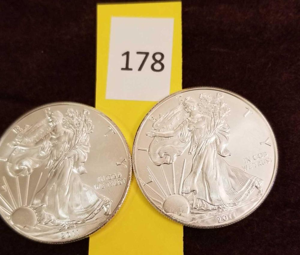 2011 Uncirculated Liberty Silver Dollars - 2 items