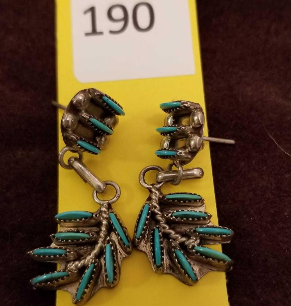 Zuni Unsigned Needlepoint Sm. Earrings