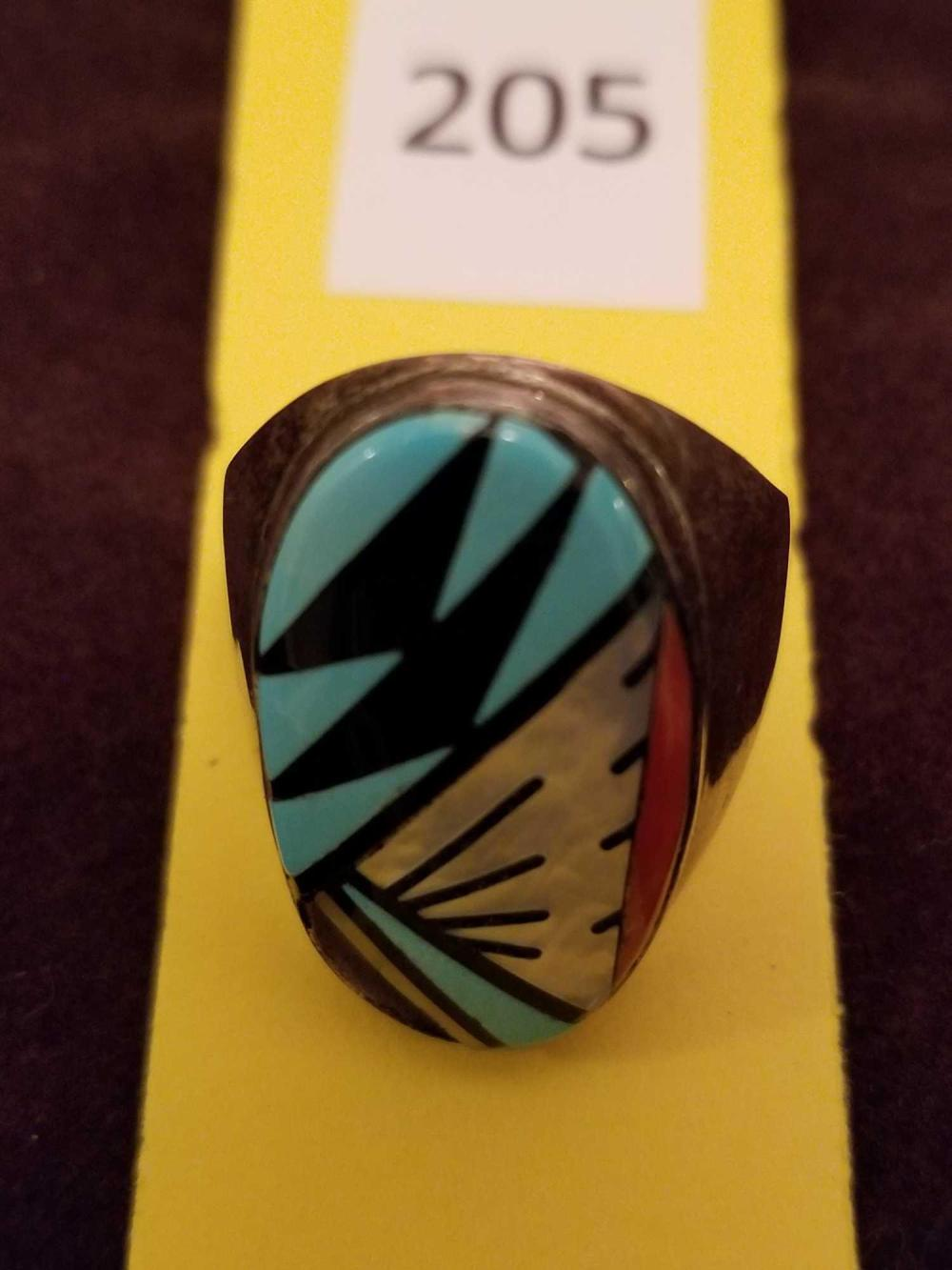 Zuni Sterling Silver & Turquoise Ring W/ Coral & Shale Inlay