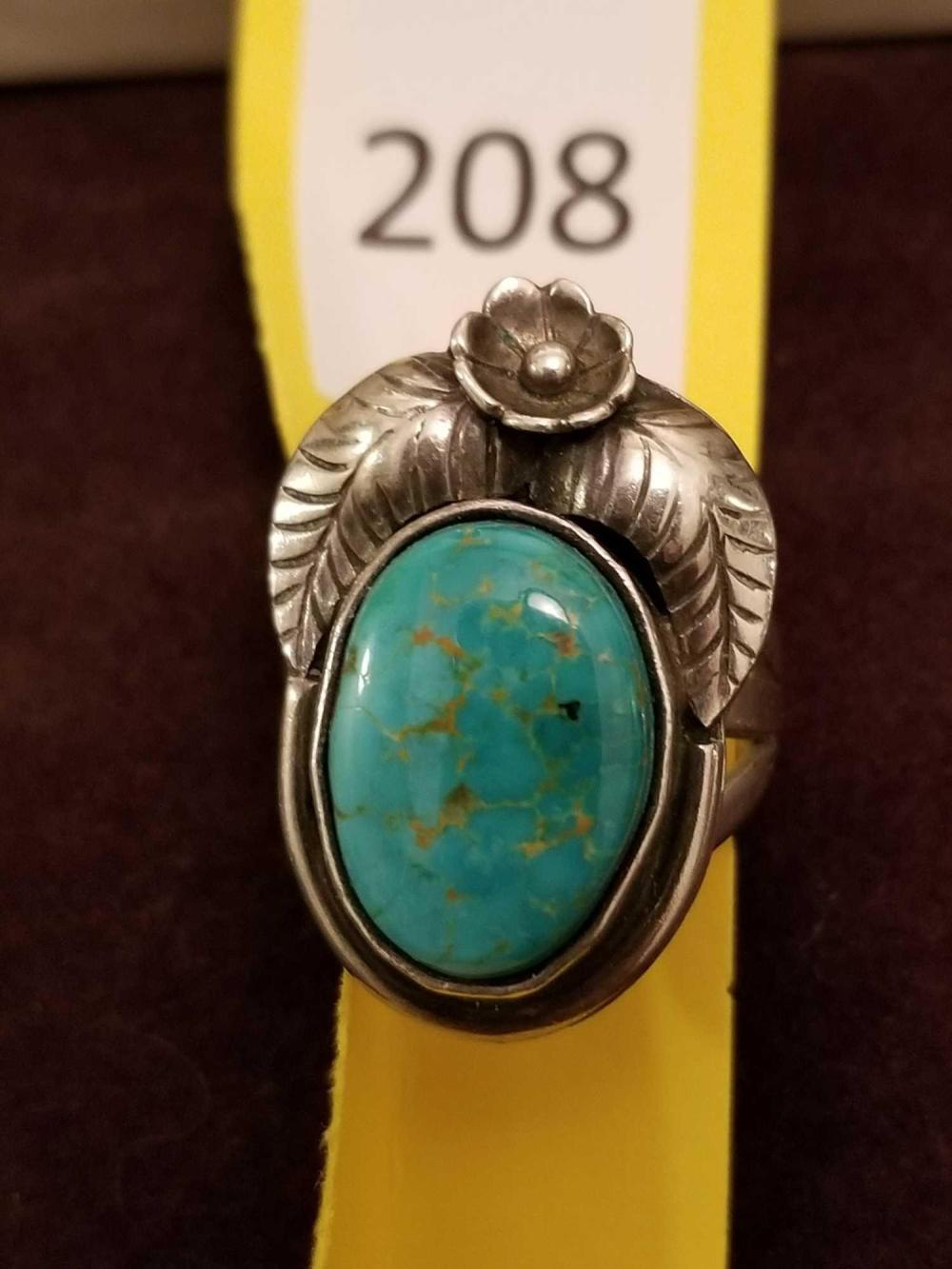 Vintage Pawn Turquoise Ring with flower