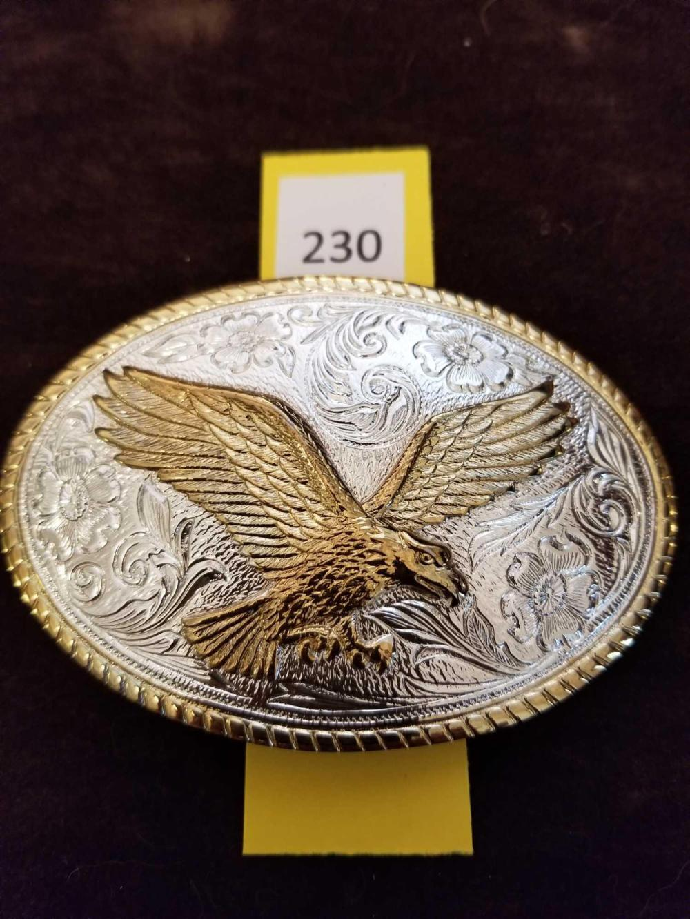 Fancy Eagle Gold / Silver Belt Buckle marked (The Heritage Collection Aminco)