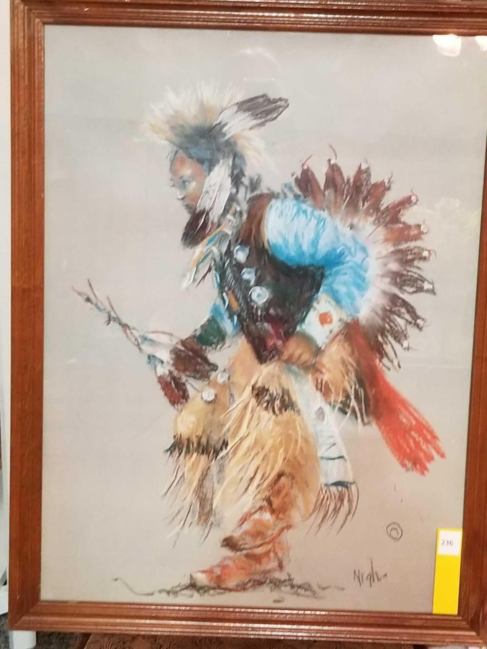 Native American Indian Dance Signed Framed Print w/no matte under glass 26x20