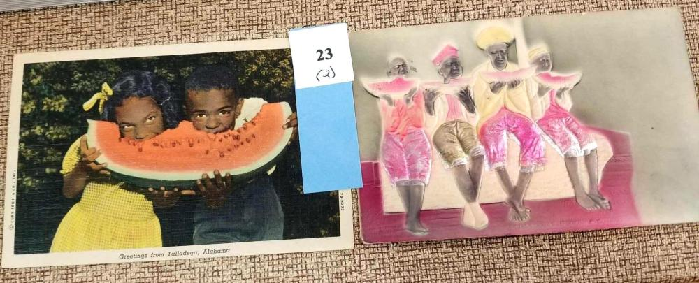 1910 & 1949 BLACK AMERICANA POST CARDS - 2 ITEMS