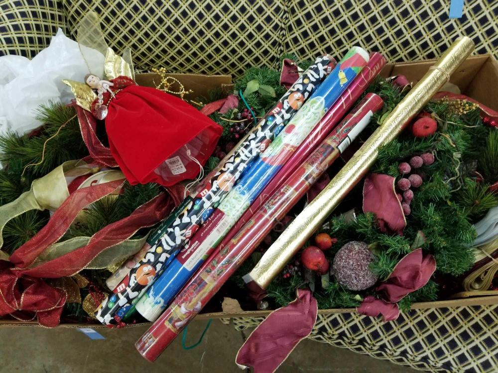 CHRISTMAS SWAG, WREATH, RIBBON & WRAPPING PAPER BOX LOT