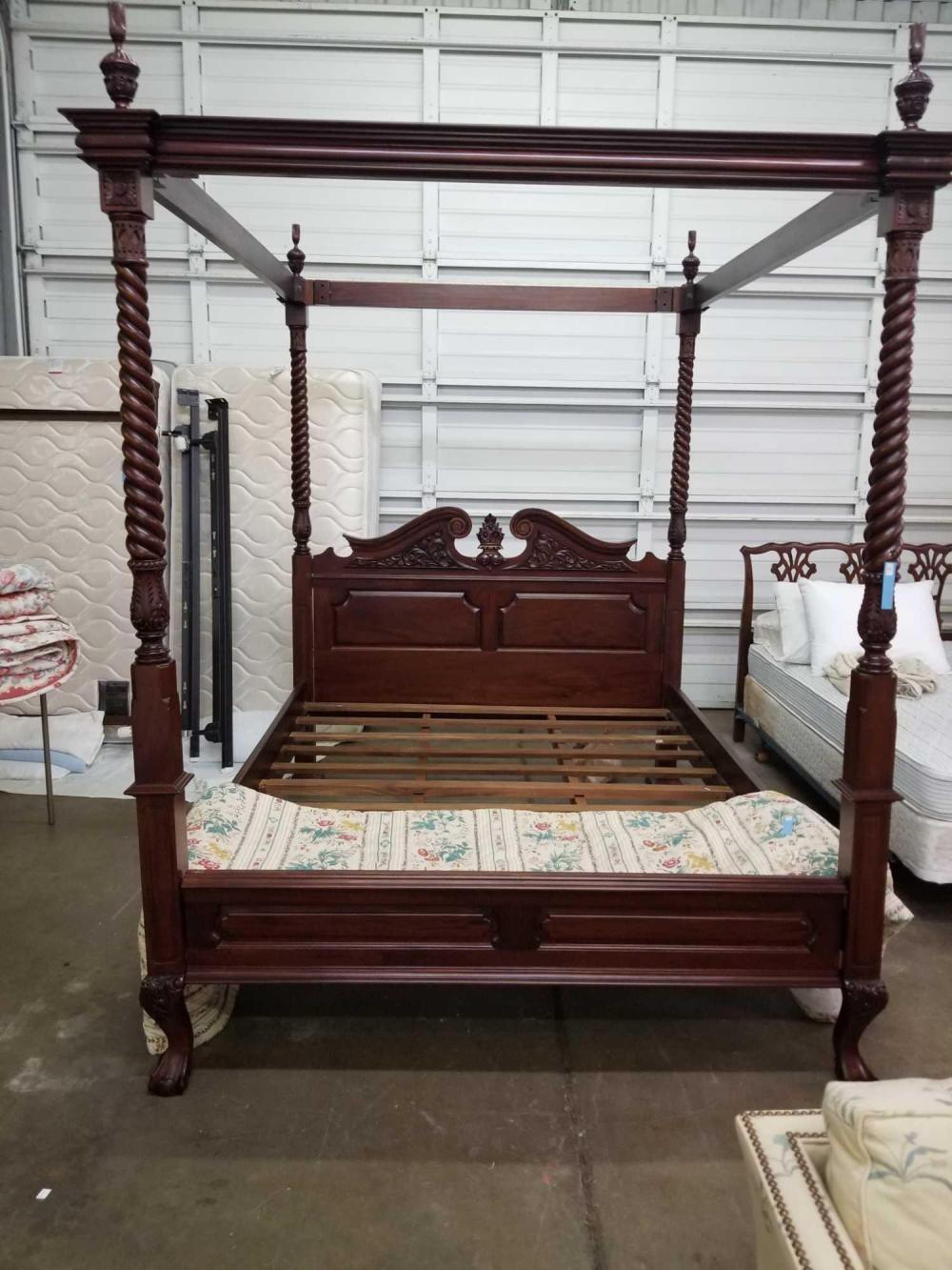 QUEEN SIZE MAHOGANY FINISH CANOPY BED