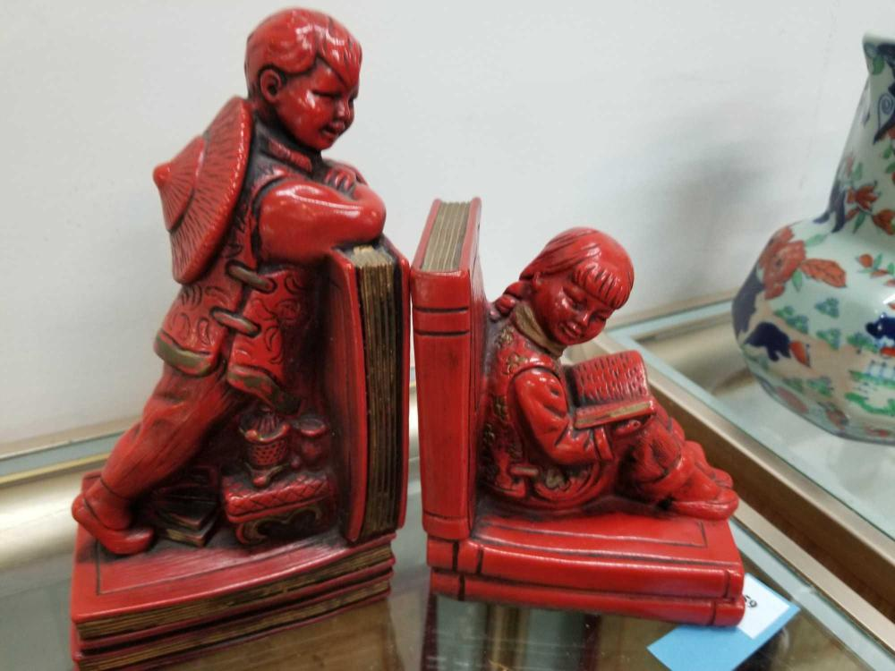 ORIENTAL STYLE BOOKENDS - PAIR