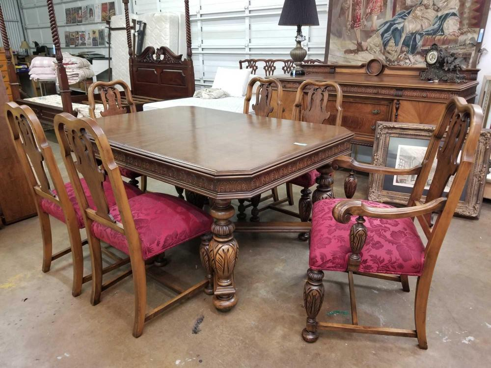 VINTAGE JACOBEAN STYLE WALNUT DINING TABLE W/ 6 CHAIRS & MATCHING BUFFET