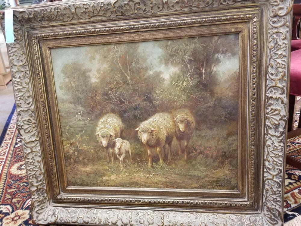 "DECORATOR ""SHEEP FAMILY"" FRAMED OIL ON CANVAS"