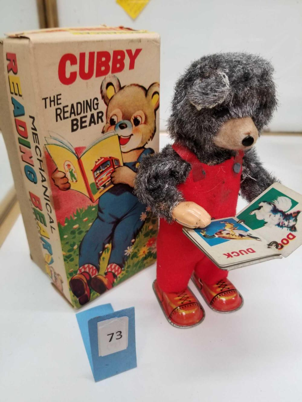 "VINTAGE ""CUBBY THE READING BEAR"" WIND UP TOY IN THE BOX"