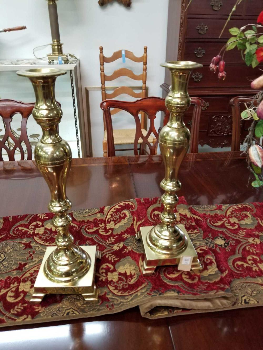 CHIPPENDALE STYLE LARGE BRASS CANDLESTICKS - PAIR